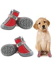 Hondenschoenen Ademend, Zacht Mesh Hondenlaarzen Ademend Poten Protector voor Kleine Medium Honden Zomer Outdoor Wandelen 4 stks