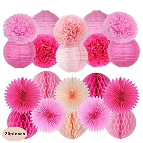 KAIMO 20pcs Pink Tissue Paper poms Flowers Paper Lanterns for Wedding Birthday Party Decoration