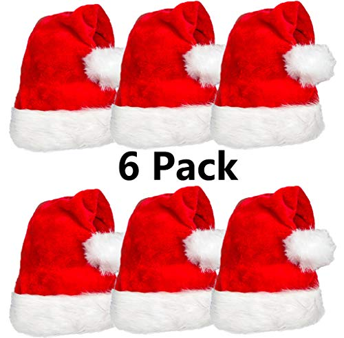Plush Santa Hat (6 Pack Plush Santa Hat Confortable Velvet Red Christmas Hat for Christmas Party Favors Fit for Adults and)