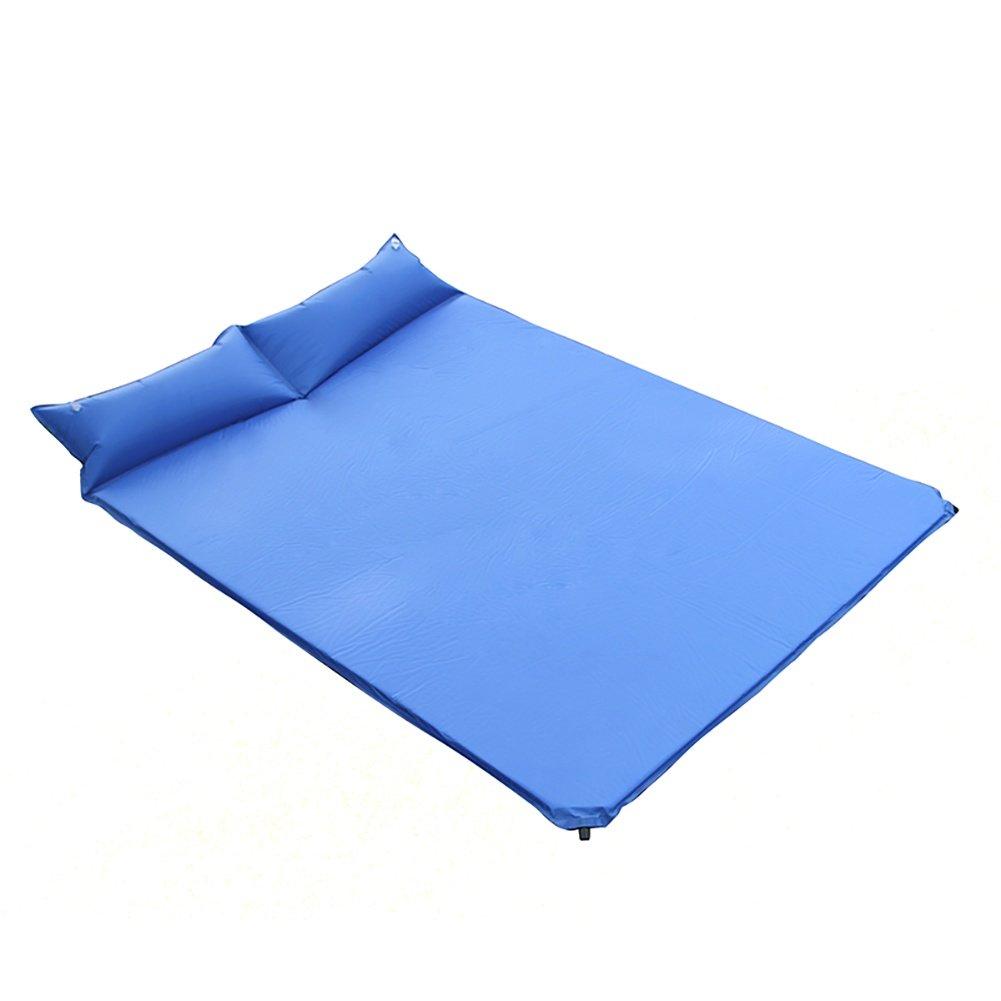 Aufblasbare Camping Isomatte mit Kopfkissen 2 Personen Rutschfest Schlafmatte mit Kissen Doppelt selbstaufblasende Isomatte Tragbare Sleeping Pad für Camping Reise Outdoor Wandern Strand , Blau