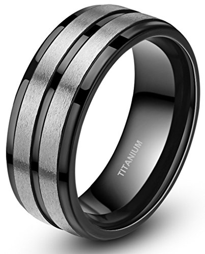 Two Tone Black Stripe Grooved Brushed Titanium Rings for Men Engagement Band 8mm (Double Stripe Wedding Band Ring)
