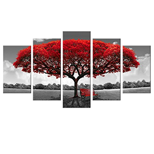 5 Panels Canvas Wall Art Red Tree Picture Prints on Canvas Landscape Painting Modern Giclee Artwork Stretched and Framed Ready to Hang Canvas Art for Home Decoration (Canvas Red Art)