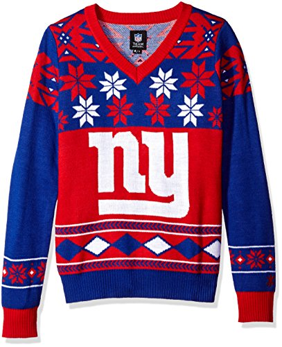 NFL Women's V-Neck Sweater, New York Giants, Small