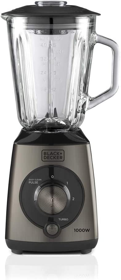 Black+Decker BXJB1000E Batidora de Vaso, 1000 W, 1.5 litros, Plástico, Gris