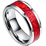 DOUX 8mm Mens White Tungsten Carbide Ring Red Opal Inlay Wedding Band Comfort Fit High Polished(7.5)