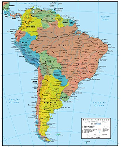 Swiftmaps South America Wall Map GeoPolitical Edition (18x22 Paper) (A Map Of North America And South America)