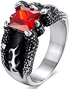 Men's Claw Ring with Red Stone