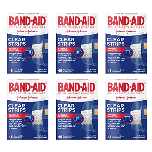 Band-Aid Brand Clear Strips Bandages, Assorted Sizes for discreet First Aid, Assorted Sizes, 45 ct Pack of 6