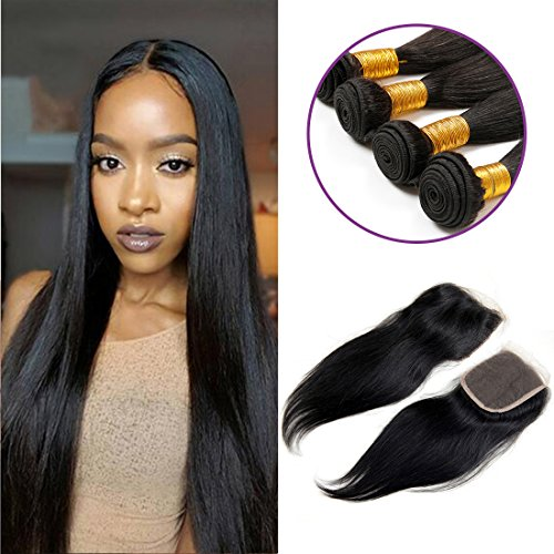 Charming-Brazilian-Straight-Hair-4-Bundles-With-a-Free-Part-Lace-Closure-100-Unprocessed-Human-Hair-Bundles-Natural-Color