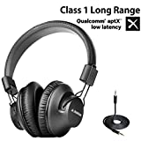 [2020 New] Avantree AS9PA aptX Low Latency Bluetooth 5.0 Over Ear Headphones for Computer TV Watching, Class 1 Long Range Wireless Wired Hi-FI Stereo Headset with Mic, for PC Cell Phones Tablets