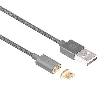 DigitalOME® Magmi Pro Cable con imán magnético con dos pines para cargador Micro Usb 2.0 para Samsung, Sony, Xiaomi, LG, HTC… - 1,2m 2.4A