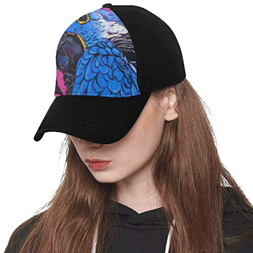 Front Panel Custom Parrot Oil Painting Bird Painting Speak Smart Spirituality Printing Baseball Hat Adjustable Size Curved Dad Cap Suit for Hip-hop Sports Summer Beach Outdoor Activities Unisex