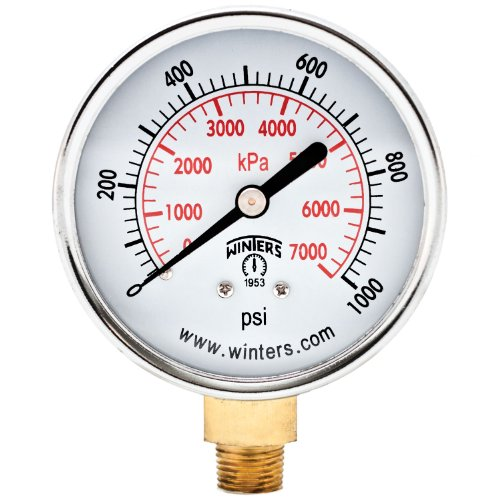 Winters PEM Series Steel Dual Scale Economical All Purpose Pressure Gauge with Brass Internals, 0-1000 psi/kpa, 2-1/2