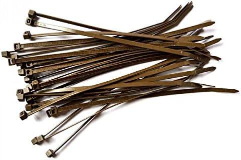 Lot de 100 colliers de serrage marron Gocableties - 300 mm x 4,8 mm - Attaches en nylon de qualité supérieure avec fermetures à glissière