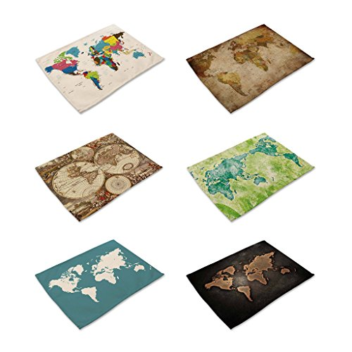 Hacaso Set of 6 Vintage Style The World Map Pattern Dining Table Mats Cotton Linen Placemats(1)