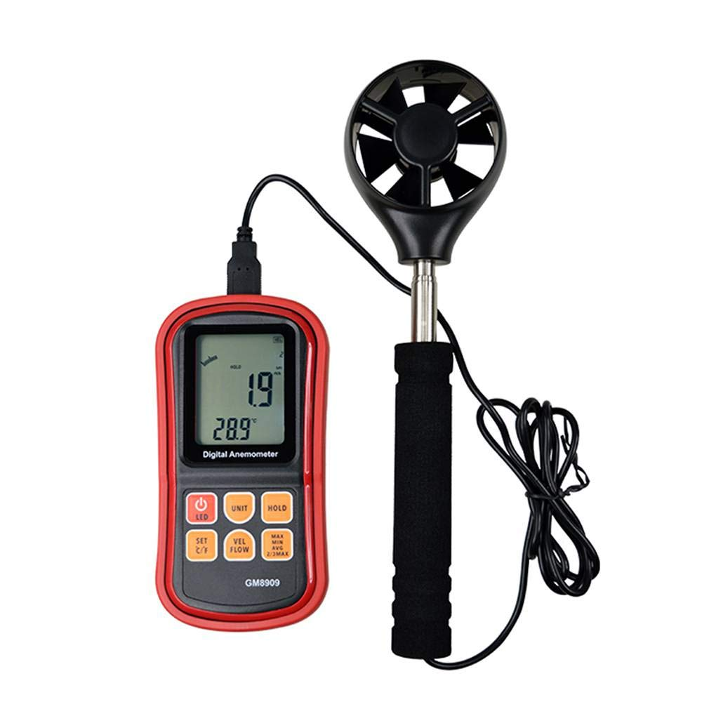 Four Digital LCD Wind Speed Meter Air Flow Velocity Measurement Anemometer with Backlight for Surfing