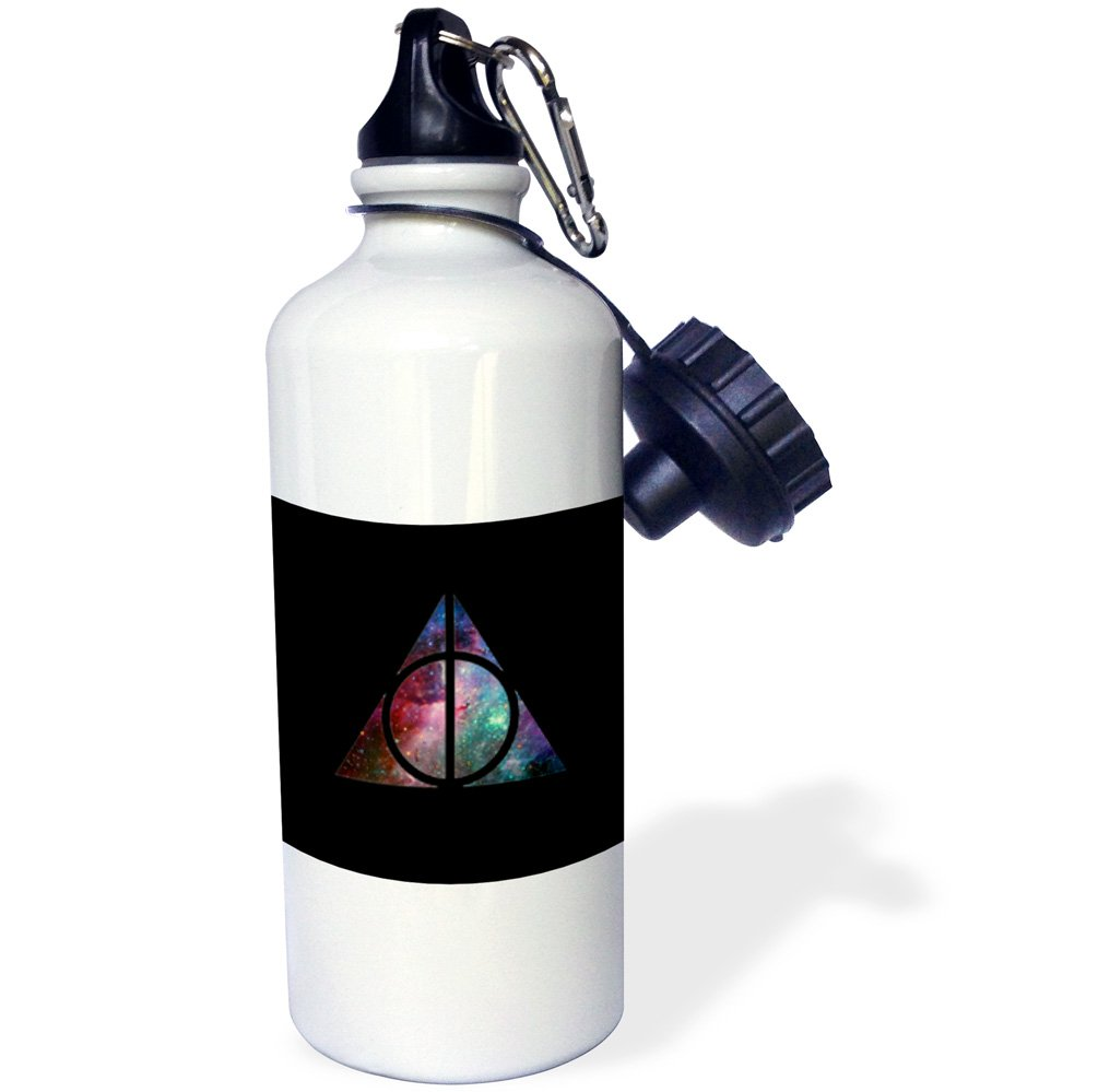 White 21 oz 3dRose wb/_221434/_1 Galaxy Deathly Hallows Sports Water Bottle
