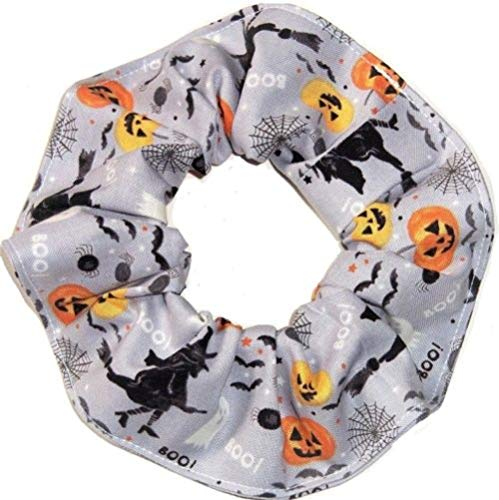 Halloween Pumpkins Witches Ghosts Fabric Hair Scrunchie Scrunchies by Sherry ()