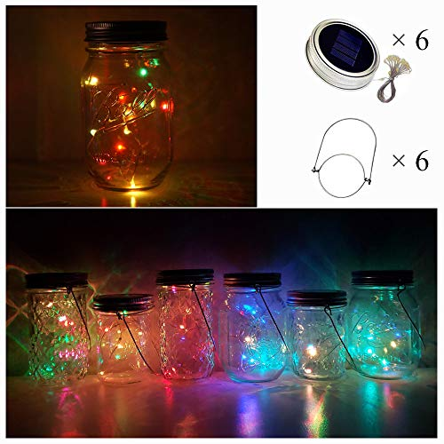 Sun Jar Lamp - Cynzia Solar Mason Jar Lid Lights, 6 Pack 10 LED Twinkle Waterproof Fairy Star Firefly String Lamps with 6 Hangers (Jar Not Included), for Lantern Table Garden Wedding Party Decor (5 Colors)