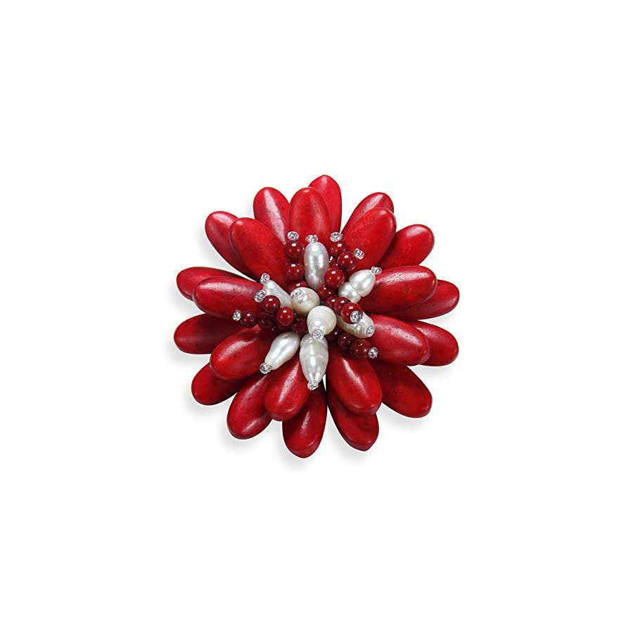 AeraVida Double Sunflower Reconstructed Red Coral and Cultured Freshwater White Pearl Floral Pin or Brooch