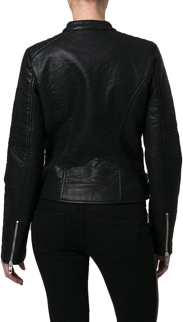 New Women Motorcycle Black Lambskin Leather Jacket Coat Size XS S M L XL LFWN042