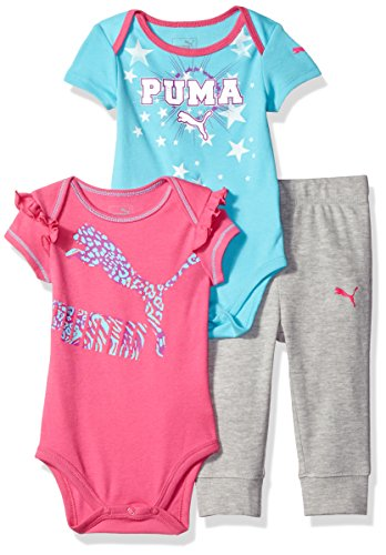 Girls 3 Piece Sweater (PUMA Baby Girls' 3 Piece Bodysuit Set, Pink Glo, 18M)