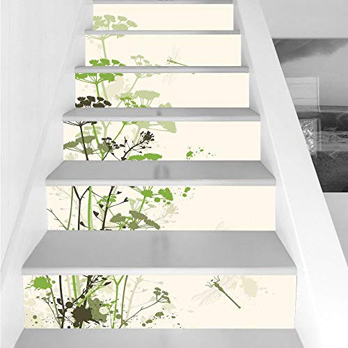 Stair Stickers Wall Stickers,6 PCS Self-adhesive,Dragonfly,Minimalist Foliage and Herbs Illustration with Dragonflies Winged Insects Mystic,Green Beige,Stair Riser Decal for Living Room, Hall, Kids ()