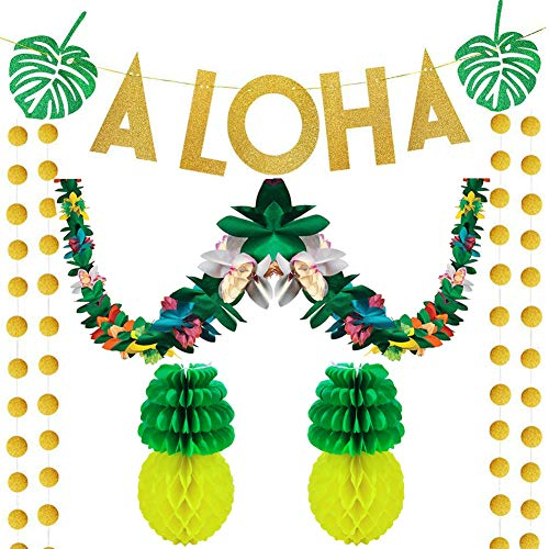 60Pcs Luau Tropical Hawaiian Party Decoration Set Hawaiian Aloha Party Decorations Including 10 ft Tissue Flower Lei Garland, 2 Pack 8-inch Tissue Paper Pineapples, 57Pcs Gold Glittery Aloha Banner for Luau Party Supplies Favors]()