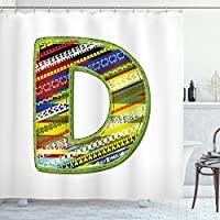 Ambesonne Letter D Shower Curtain, Letter of Ornament D from Alphabet Winter Color Scheme Designs Old School Retro, Cloth Fabric Bathroom Decor Set with Hooks
