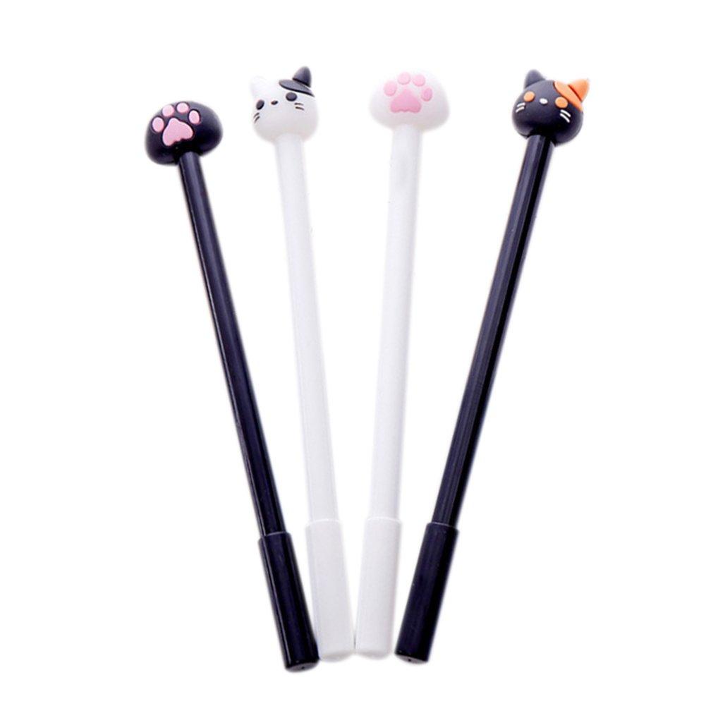 Monbedos 4pcs gel penna creativo simpatico gatto e gatto zampa rollerball penne scuola ufficio forniture per Kid Student Office Family use, 0.38 mm 0.38mm