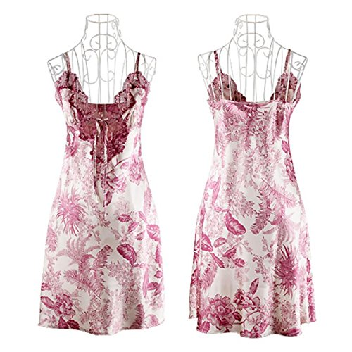 ZC&J El nuevo calado encaje de seda Sra fresco y cómodo transpirable V-cuello de seda faldas de baño de la honda pijamas,purple,XL Purple