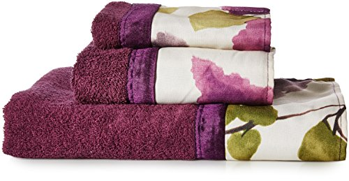Popular Bath Bath Towels, Jasmine Collection, 3-Piece Set, Plum ()