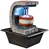 Sunnydaze Meditation Tabletop Fountain with LED Lights, 10 Inch Tall