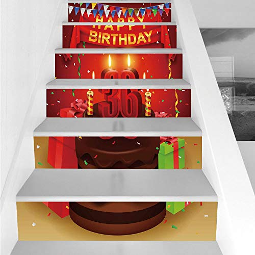 Stair Stickers Wall Stickers,6 PCS Self-adhesive,36th Birthday Decorations,Celebration Party with Cake Candles and Presents Print,Red and Burgundy,Stair Riser Decal for Living Room, Hall, Kids Room De