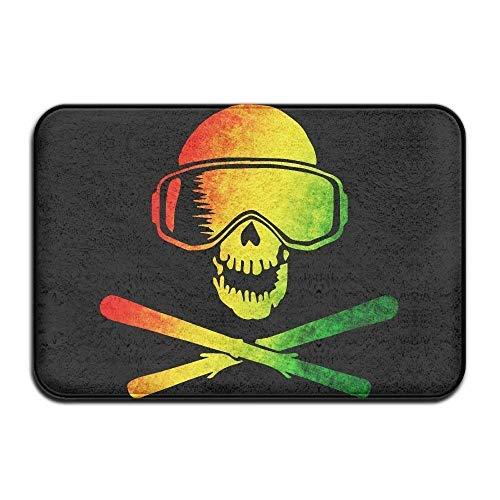 Rasta Ski Skulls Non IP Doormat Entrance Mat Floor Mat Rug Dirt Trapper Mats 15.7