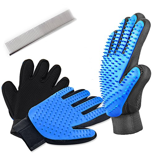 Pet Hair Remover Glove Set Dog Grooming Glove and 1 Stainless Steel Pet Comb
