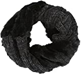 Sakkas 16106 - Dalien Short Length Two Sided Faux Fur Ribbed Cable Knit Infinity Scarf - Black - OS