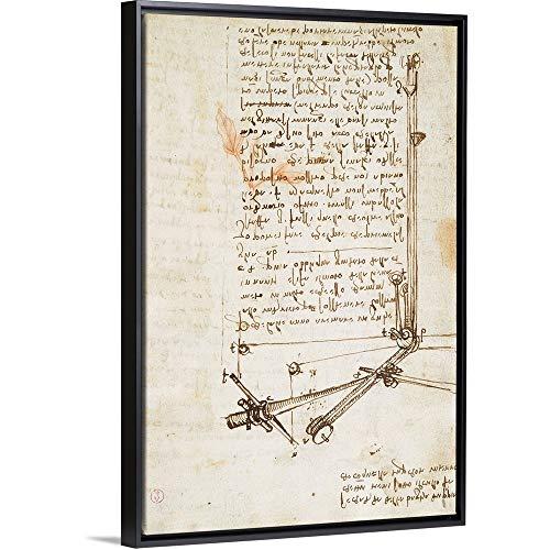 - Leonardo da Vinci Floating Frame Premium Canvas with Black Frame Wall Art Print Entitled Codex on The Flight of Birds, by Leonardo da Vinci, 1505-1506. Royal Library, Turin 20