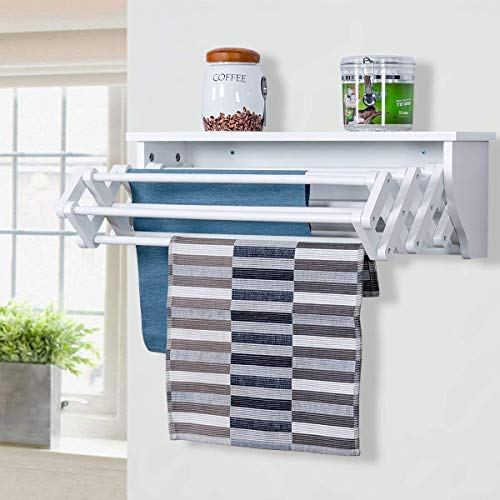 (Tangkula Wall Mount Drying Rack Bathroom Home Expandable Towel Rack Drying Laudry Hanger Clothes Rack (Wood))