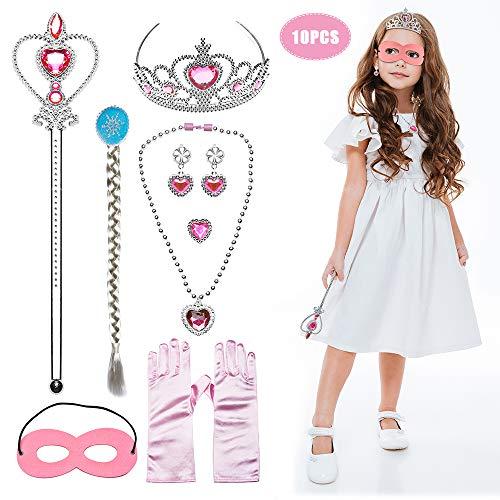 JUSTIDEA 10pieces Princess Dress Up Costume Accessories Aurora Set,Gift Set for Princess Cosplay Gloves Tiara Wand and Cloak Braid Cloak Mask Full Costume Set(Pink