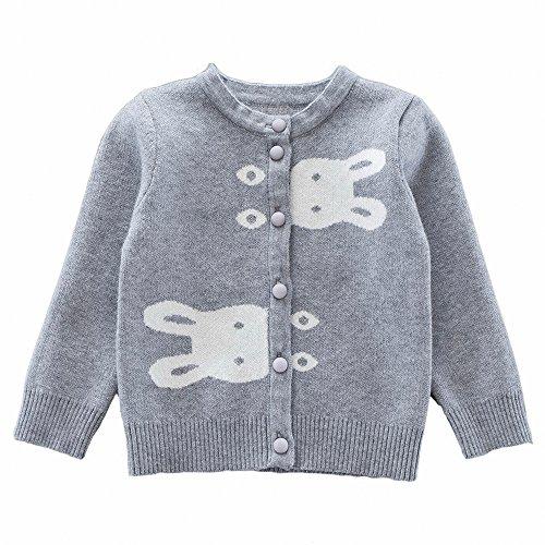Moonnut Little Girls Cute Rabbit Knit Cardigan Sweater (Baby/Toddler)