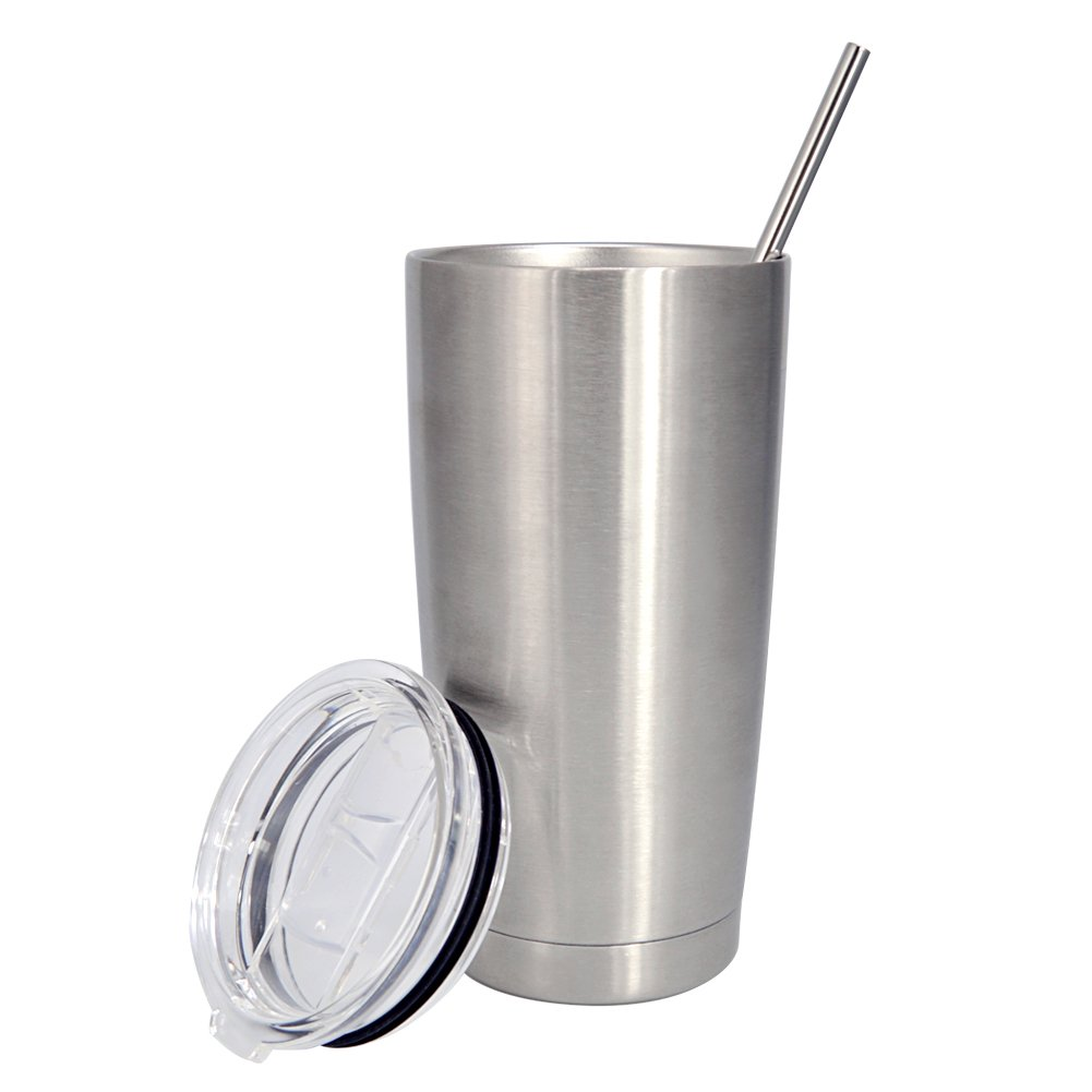 Coffee Travel Mug Cup Tumbler 20 oz Leak-Proof 18/8 Stainless Steel Double Walls Vacuum Insulated Mug Set with Lid and Straw