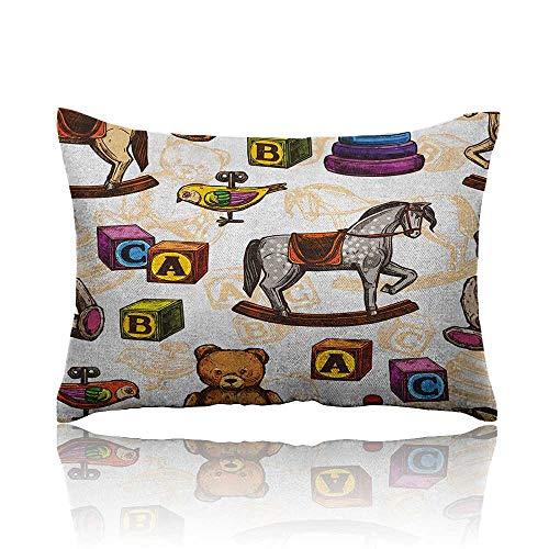 - Anyangeight Vintage Mini Pillowcase Retro Style Kids Toys Rocking Horse Teddy Bear and Bird Illustration Print Fun Pillowcase 16