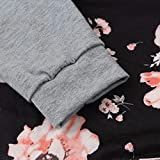 Floral Hoodies,Han Shi Womens Front Big Pockets Print Blouse Loose Sweatshirt Tops Tanks (L, Black)