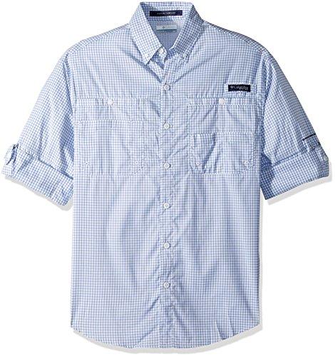 Columbia Mens Super Tamiami Long Sleeve Shirt, Vivid Blue Small Check, Medium