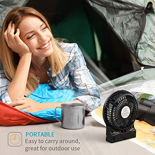 OPOLAR Mini Portable Battery Operated Travel Fan with 3-13 Battery Life, Rechargeable & USB powered Handheld Fan for Desk Beach Camping, 3 Speeds, Strong Airflow, Internal Blue Light& Side Flash Light