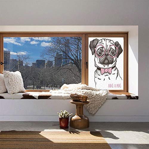 C COABALLA Vinyl Window Film,Pug,Work Well in The Bathroom,Cute Pug with Pink Bow Tie Oversized Glasses,24''x36''