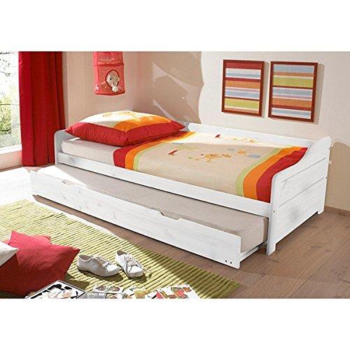 Funktionsbett 90*200 cm Kiefer massiv weiß Gästebett Gästeliege Kinderbett Jugendliege Tandembett Massivholzbett Kinderzimmer Bett