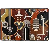 U LIFE Abstract Music Guitar Piano Large Area Rug Runner Floor Mat Carpet for Entrance Way Doorway Living Room Bedroom Kitchen Office 36 x 24 & 72 x 48 Inch 3 x 2 & 6 x 4 Feet