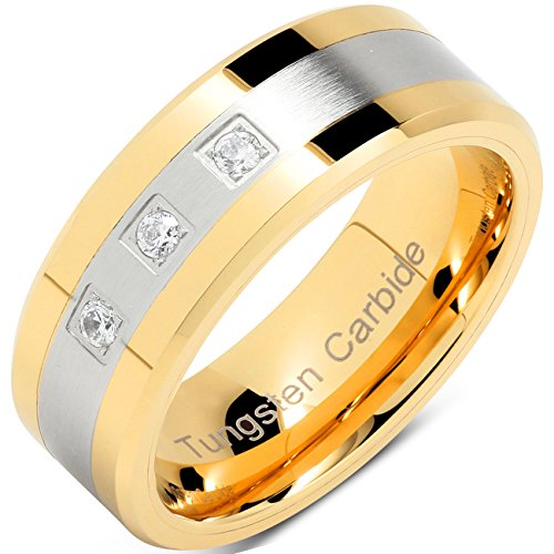 Tungsten Rings For Men Gold Si